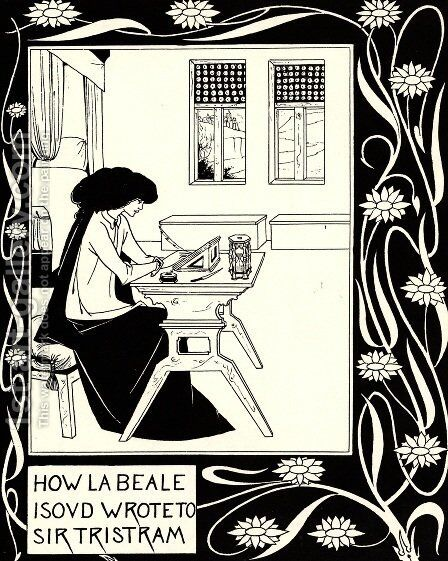 How La Beale Isoud Wrote to Sir Tristram by Aubrey Vincent Beardsley - Reproduction Oil Painting