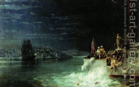 Night. Tragedy in the Sea of Marmara by Ivan Konstantinovich Aivazovsky - Reproduction Oil Painting