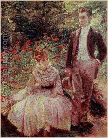 The Artist's Son and Sister in the Garden at Sevres by Marie Bracquemond - Reproduction Oil Painting