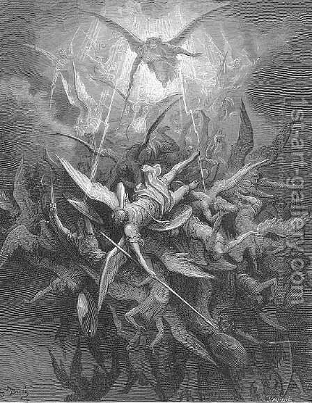 Him The Almighty Power Hurled Headlong Flaming from the Eternal Sky by Gustave Dore - Reproduction Oil Painting