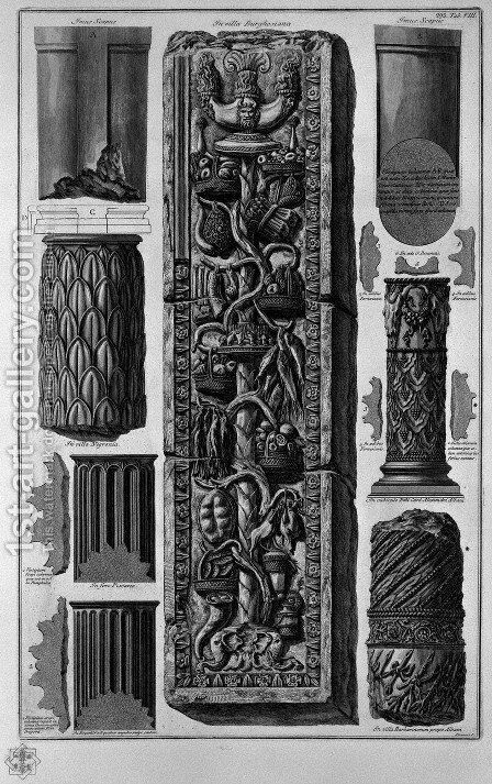 Drums of columns and bas-relief of Roman Villas by Giovanni Battista Piranesi - Reproduction Oil Painting