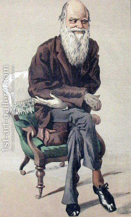 Caricature of Charles Darwin from Vanity Fair magazine by James Jacques Joseph Tissot - Reproduction Oil Painting