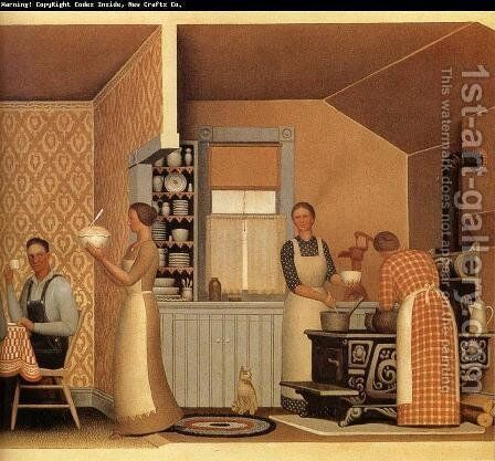 Dinner for Threshers by Grant Wood - Reproduction Oil Painting