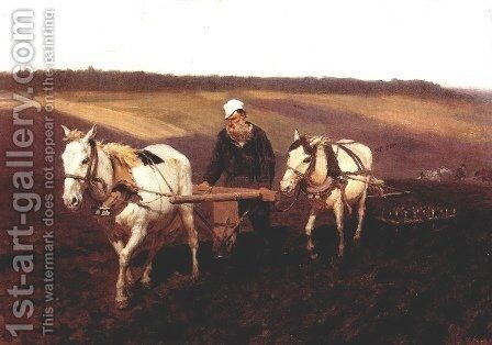 Portrait of Leo Tolstoy as a Ploughman on a Field by Ilya Efimovich Efimovich Repin - Reproduction Oil Painting