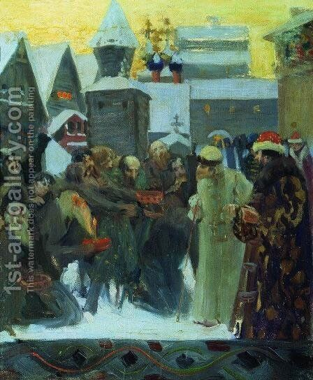 Exit of Tsar Ivan the Terrible by Boris Kustodiev - Reproduction Oil Painting