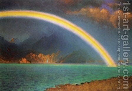 Rainbow over Jenny Lake, Wyoming by Albert Bierstadt - Reproduction Oil Painting