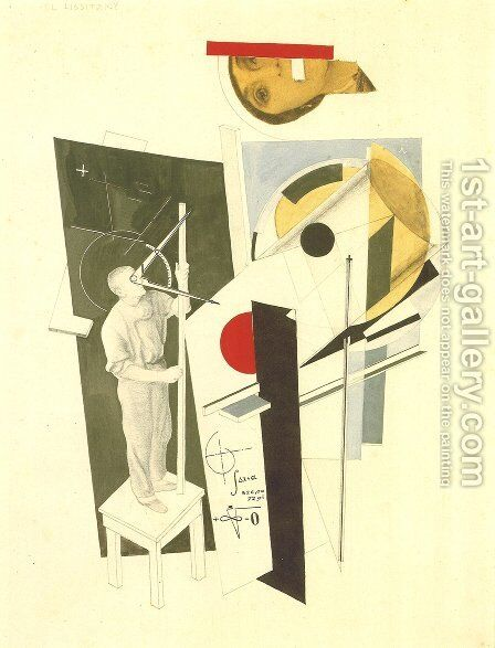 Tatlin at Work by Eliezer (El) Markowich Lissitzky - Reproduction Oil Painting