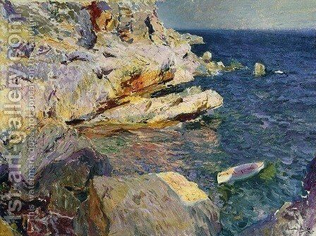 Rocks and white boat, Javea by Joaquin Sorolla y Bastida - Reproduction Oil Painting