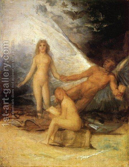 Sketch for Truth Rescued by Time, Witnessed by History by Goya - Reproduction Oil Painting