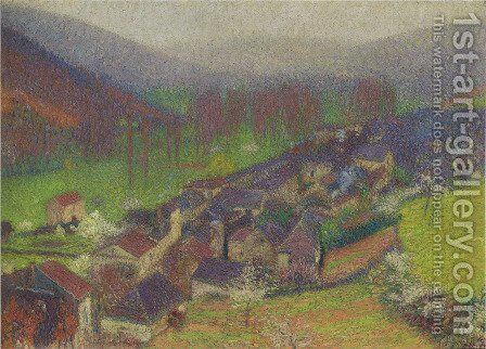 View of the Labastide du Vert below to Marquayrol by Henri Martin - Reproduction Oil Painting