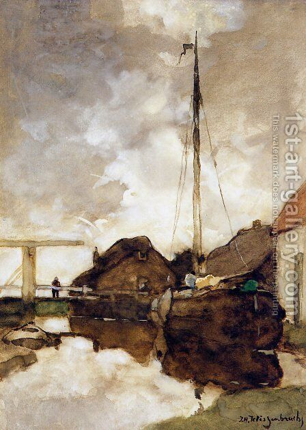 View on canal by Jan Hendrik Weissenbruch - Reproduction Oil Painting