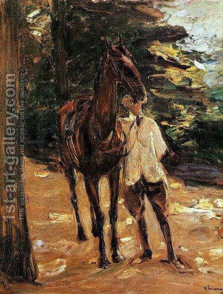 Man with horse by Max Liebermann - Reproduction Oil Painting