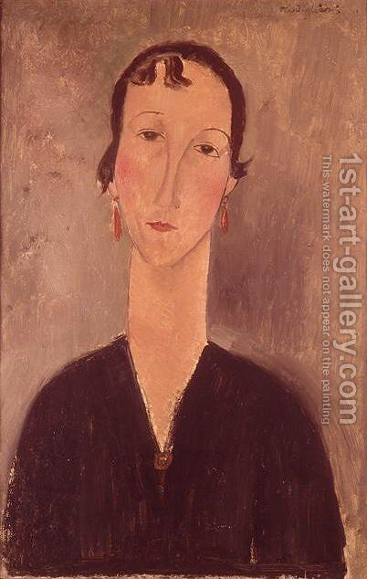 Woman with earrings by Amedeo Modigliani - Reproduction Oil Painting