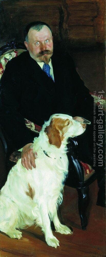 Portrait of Dr. S. Y. Lyubimov with dog by Boris Kustodiev - Reproduction Oil Painting