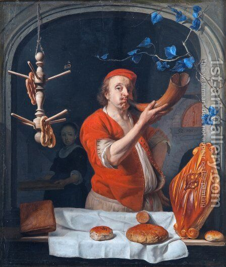 A Baker Blowing his Horn by Gabriel Metsu - Reproduction Oil Painting
