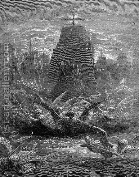 St. Louis leaving Aigues-Mortes by Gustave Dore - Reproduction Oil Painting