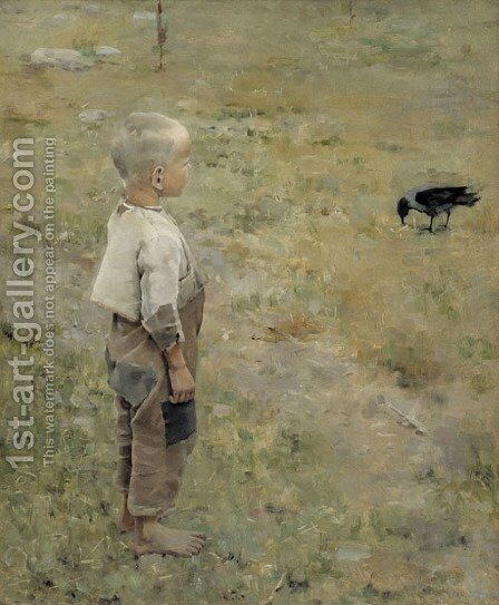 Boy with a Crow by Akseli Valdemar Gallen-Kallela - Reproduction Oil Painting