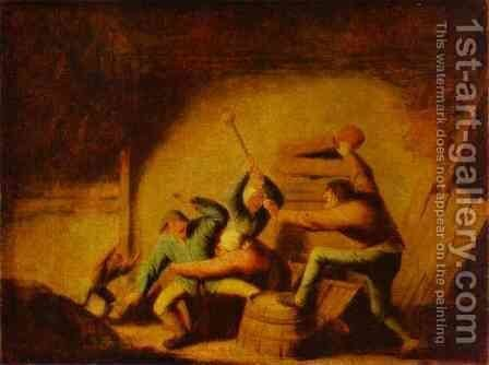 A Fight 2 by Adriaen Jansz. Van Ostade - Reproduction Oil Painting