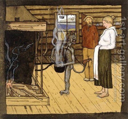 Devil by the Pot by Hugo Simberg - Reproduction Oil Painting