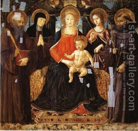 Madonna and Child Enthroned Among St. Benedict, St. Scholastica, St. Ursula and St. John Gualberto by Benozzo di Lese di Sandro Gozzoli - Reproduction Oil Painting