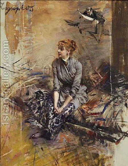 Portrait Of Madame Gabrielle Rejane 2 by Giovanni Boldini - Reproduction Oil Painting