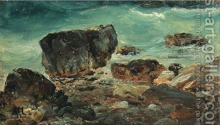 Coastal scene with larger rocks by Anton Melbye - Reproduction Oil Painting