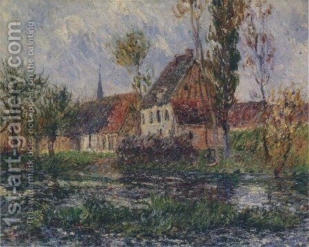 Small Farm by the Eure River by Gustave Loiseau - Reproduction Oil Painting