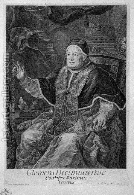 Portrait of Pope Clement XIII (Clemens Decimustertius Venetus Pontifex Maximus) by Giovanni Battista Piranesi - Reproduction Oil Painting
