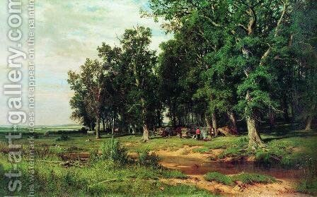 Mowing in the oak grove by Ivan Shishkin - Reproduction Oil Painting