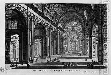 View of the great Basilica of St. Peter's Square and was originally located where the Cirque and the Gardens of Gaius and Nero in the Valley of the Vatican by Giovanni Battista Piranesi - Reproduction Oil Painting