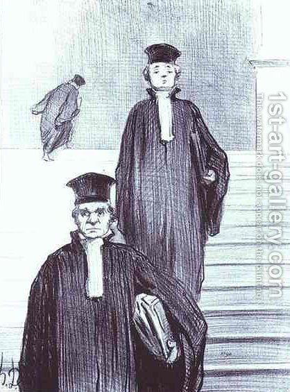 Grand Staircase of the Palace of Justice 2 by Honoré Daumier - Reproduction Oil Painting