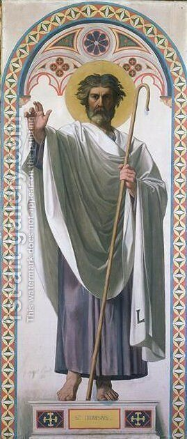 Cardboard for the windows of the chapel at Dreux. St. Louis Saint Denis, first bishop of Paris by Jean Auguste Dominique Ingres - Reproduction Oil Painting