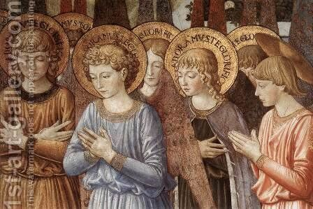 Angels Worshipping (detail) 2 by Benozzo di Lese di Sandro Gozzoli - Reproduction Oil Painting