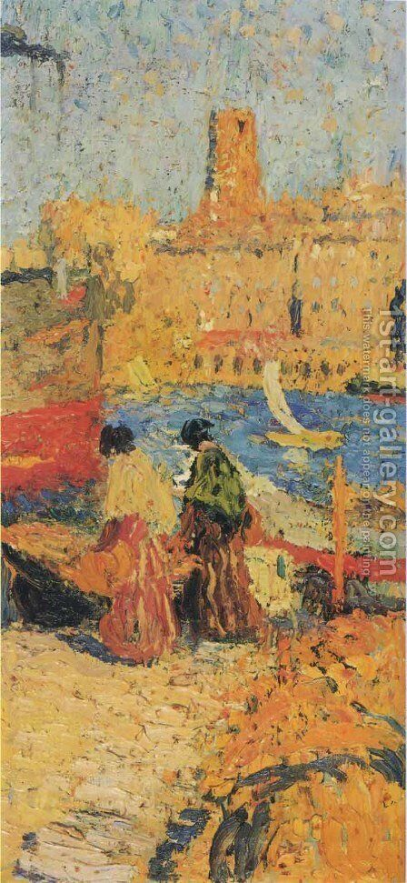 Woman Sitting in a Port 2 by Henri Martin - Reproduction Oil Painting