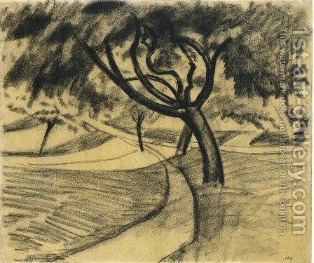 Trees and fields by August Macke - Reproduction Oil Painting