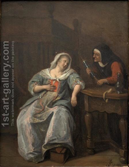 Sick woman 2 by Jan Steen - Reproduction Oil Painting