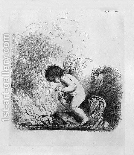 Cupid looking to burn the bow and arrows by Guercino by Giovanni Battista Piranesi - Reproduction Oil Painting