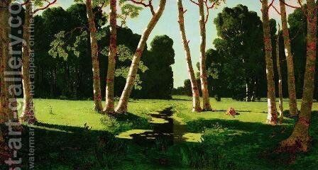 A Birch Grove 8 by Arkhip Ivanovich Kuindzhi - Reproduction Oil Painting