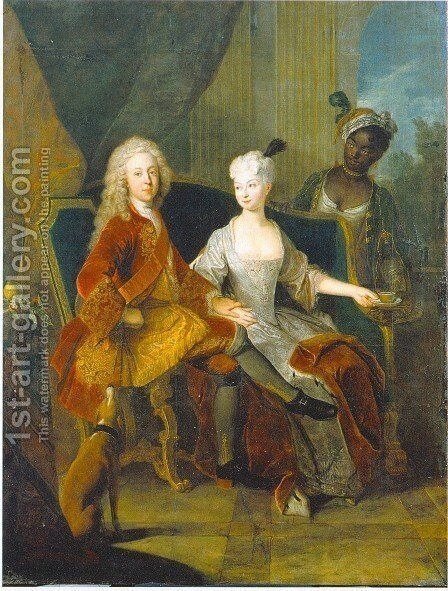 Portrait of the crown prince Friedrich Ludwig of Wurttemberg and his wife Henriette Marie of Brandenburg Schwedt by Antoine Pesne - Reproduction Oil Painting