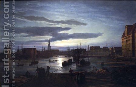 Copenhagen Harbour by Moonlight by Johan Christian Clausen Dahl - Reproduction Oil Painting