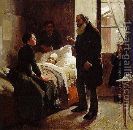 The Sick Child by Arturo Michelena - Reproduction Oil Painting