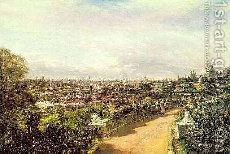 View of Moscow from the house of G.I. Chludov by Aleksei Petrovich Bogolyubov - Reproduction Oil Painting