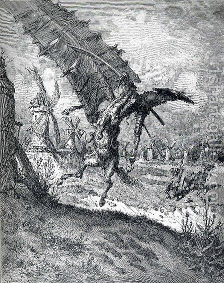 The Adventure with the Windmills by Gustave Dore - Reproduction Oil Painting