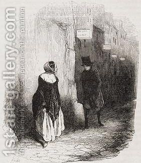 Rue Pierre Lescot, The Streets of Paris under Louis Lurin by Honoré Daumier - Reproduction Oil Painting