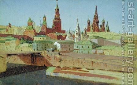 View of the Moskvoretsky Bridge, the Kremlin and the Pokrovsky Cathedral by Arkhip Ivanovich Kuindzhi - Reproduction Oil Painting