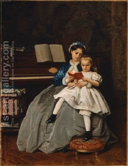 Reading Lesson by Auguste Toulmouche - Reproduction Oil Painting