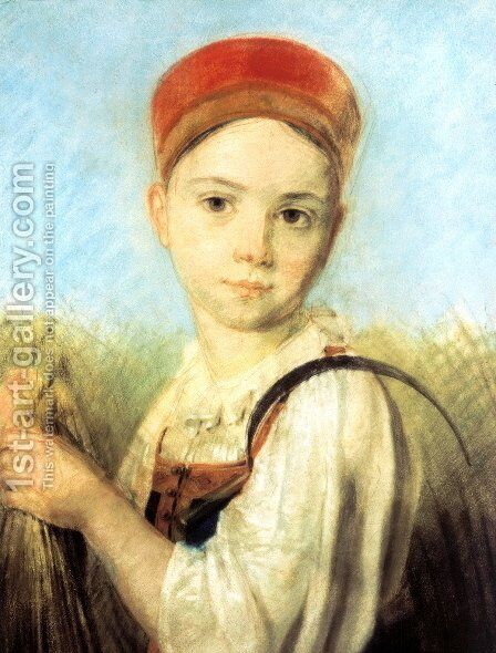 Peasant Girl with a Sickle in the Rye by Aleksei Gavrilovich Venetsianov - Reproduction Oil Painting