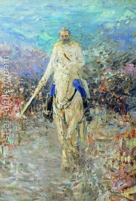 Equestrian portrait of Alexander II by Ilya Efimovich Efimovich Repin - Reproduction Oil Painting