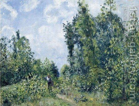 Wanderer near the Wood by Camille Pissarro - Reproduction Oil Painting