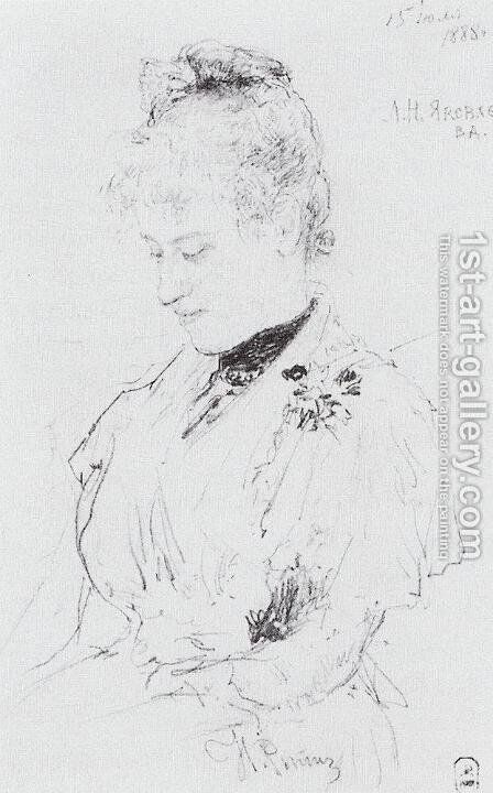 Portrait of L.N. Yakovleva by Ilya Efimovich Efimovich Repin - Reproduction Oil Painting